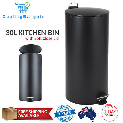 30L Waste Rubbish Bin - Black Soft Close Lid Foot Pedal Kitchen Trash Can Handle