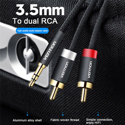 1 To 2 3.5mm Male Plug to Dual 2 Male RCA Jack Cable Stereo PC TV Audio Splitter