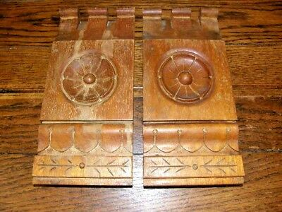 Pair Antique Victorian Rosette Plinth Block C 1880 Fir Architectural Salvage
