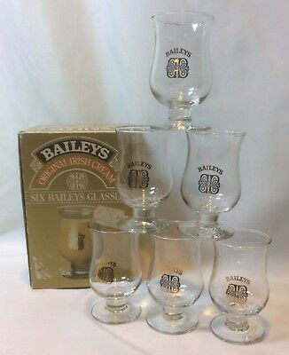 6 Baileys Irish Cream Footed Cordial Glass Shot Glass Gold Toned Graphics New
