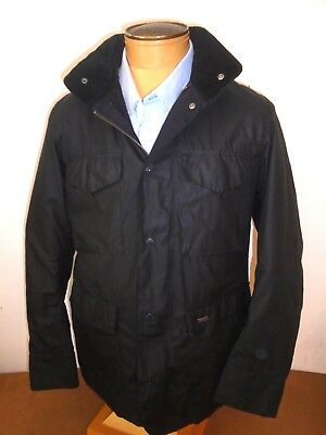 Barbour 100% Wax Cotton Navy Hooded Sapper Jacket NWT UK Large - USA Medium $429