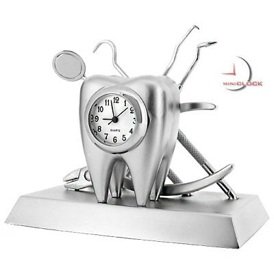DENTIST SET w TOOTH & DENTAL ORTHODONTIST TOOLS COLLECTIBLE  MINI CLOCK GIFT
