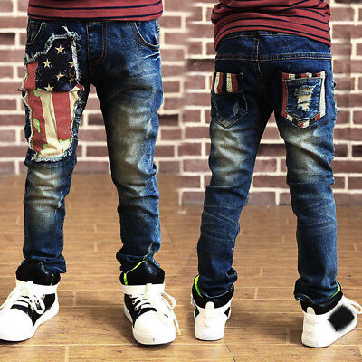 Baby Kids Boys Zipper Stretch Jeans Long Pants Elastic Waist Denim Trousers