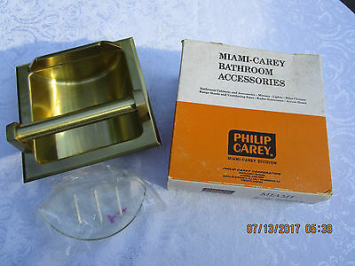 Vintage Recessed Soap Dish & Grab Bar NIB- Miami Satin Brass 6044-L