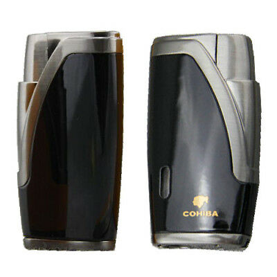 COHIBA Black Flat Jet Flame 2 Torch Cigar Cigarette Lighter W/ Punch