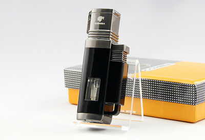 Cohiba Black Windproof 4 Torch Jet Flame Cigar lighter W/ Punch Classic Durable