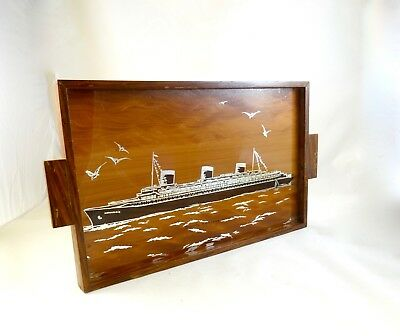 Seltenes Art Deco Servier Tablett Cocktail Transatlantik Schiff Normandie