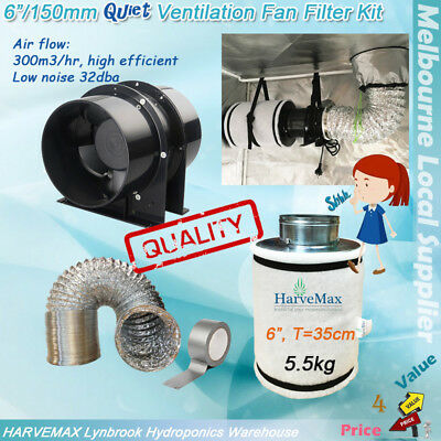 "Hydroponics Low Noise 6"" Inline Fan Filter Kit Ventilation Ducting 6Inch Combo"