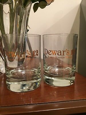 "DEWARS 12yr FINEST SCOTCH WHISKEY ""GOLD LEAF"" ROCKS GLASSES. SET OF TWO(2)"