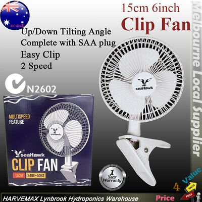 SEAHAWK 2 Speed 150mm Clip Fan Quiet Student Desk Clamp Hydroponic Grow Tent Fan