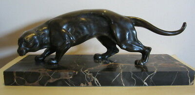 Antique art deco bronze panther on marble, ca 1925; French bronze,Roger Varnier
