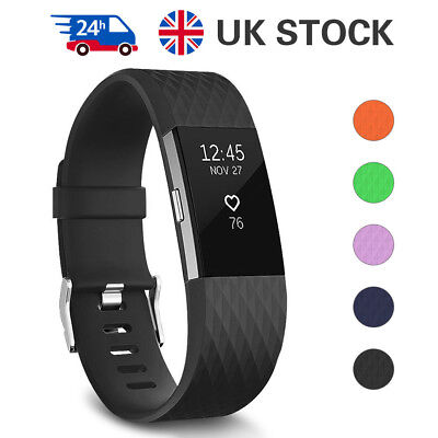For Fitbit Charge 2 Watch Strap Bands Replacemen Bracelet Silicone Silver Buckle