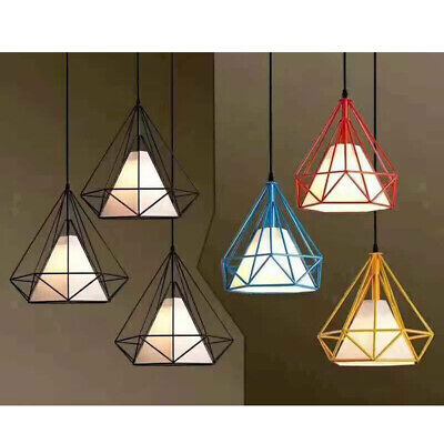Vintage Lampshade Diamond Double Layer Light Metal Frame Cage Guard Bar Cafe DIY