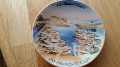 "Fisherman's Wharf San Francisco vintage 4"" hand painted Miniature Souvenir Plate"