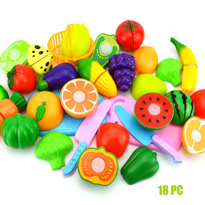 1 Set Kids Pretend Role Play Kitchen Fruit Vegetable Food Toy Cutting Gift UK