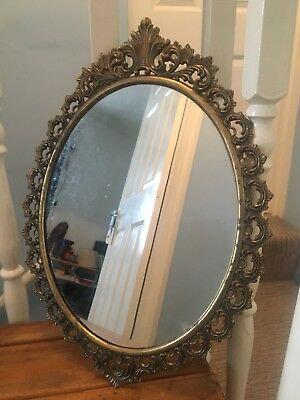 Beautiful Oval Gold Colour Metal French Rococo Antique Style Mirror