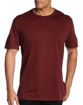 3fe43a103 John Varvatos Star USA Men's Short Sleeve Burnout Crew T-Shirt Crimson Red  Large