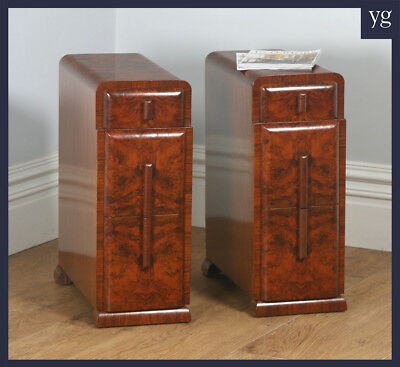 Antique Pair Two 2 Art Deco Burr Walnut Bedside Chest Table Night Stand (c.1930)