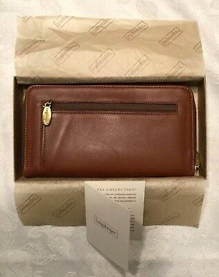 Longaberger Country Estates Zip Style WALLET - Soft beautiful Leather NEW in BX