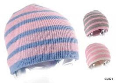 Girls PINK/GREY Striped Knitted Winter Beanie Hat ( GL071) UK Size 6-9 Years