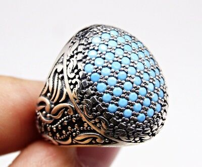 Turkish handmade 925 Sterling Silver Turquoise Stone Mens ring ALL SİZE #2028