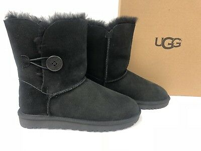 43337c9c961 UGG AUSTRALIA BAILEY Button II Black Sheepskin Boot Women's 1016226  Sheepskin