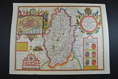 Vintage decorative sheet map of Nottingham John Speede 1610 town plan