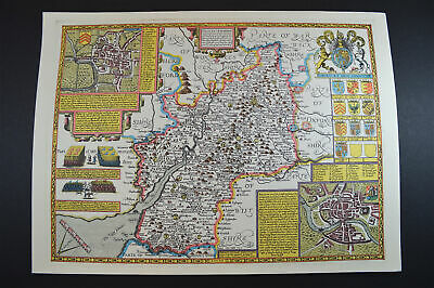 Vintage decorative sheet map of Gloucestershire John Speede 1610 town plan