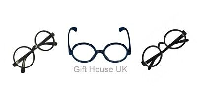 Harry Potter Black Round Glasses Hogwarts Wizard Geek Nerd Fancy Dress Costume