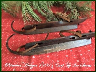 1800's Pair of Primitive Antique Wood Ice Skates Curl Tip Vtg Xmas Decor aafa