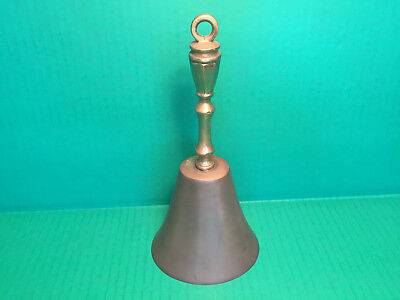 "VINTAGE Antique Looking Danish Heavy Solid Brass HAND BELL w/Patina 9"" All Brass"
