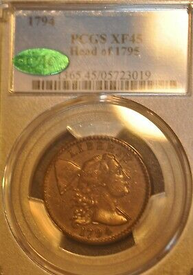 1794 1C Liberty Cap,Large cent S-70 Head of 95 M/LDS CC9TIED  PCGS graded XF45.