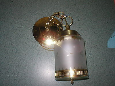"""Vintage Brass & Frosted ETCHED Glass Ceiling Light Fixture Chain 18"""" Swag"""