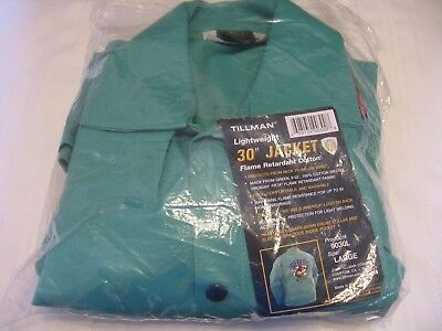 "Tillman  ""We Weld "" 9030 lightweight Green welding jacket size large new! (E34)"