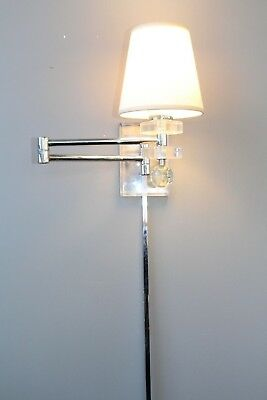 RARE Pair Mid Century Modern Lucite//Chrome Swing Arm Wall Sconces Lights Lamps