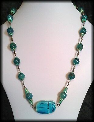 Handmade Vintage Style Egyptian Faience Scarab Beetle & Agate Beaded Necklace
