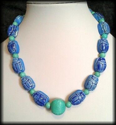 Handmade Vintage Style Egyptian Faience Scarab Beetle Turquoise Beaded Necklace