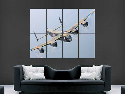 Lancaster Bomber War Aeroplane  Giant Wall Poster Art Picture Print Large Huge