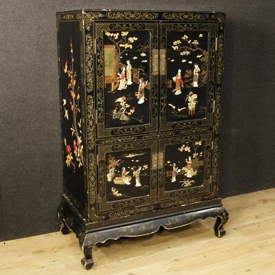 Cupboard lacquered chinoiserie furniture french wooden 4 panels antique style