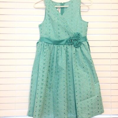 334bdc8115d Bonnie Jean Teal White Gingham Easter Spring Sleeveless Dress Girls Size 12