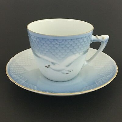 Copenhagen Porcelain Teacup And Saucer Made In Denmark Blue White Dove Gold Trim