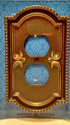 Vintage Double Outlet Switch Plate Cover NOS GE Mediterranean Style Retro SR-1