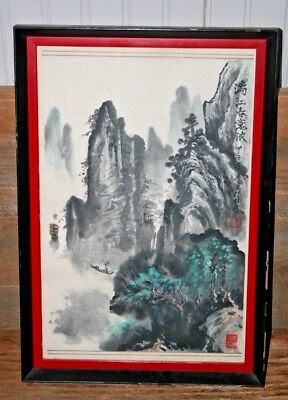 Vintage ~ Antique Chinese scroll painting Watercolor Mountains Chop Marks Signed