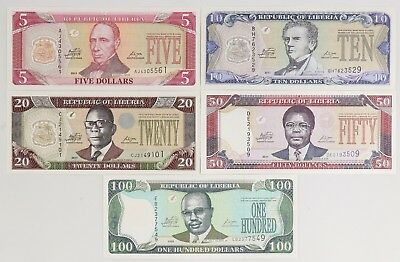 2009-2011 Liberia 5-Banknote Set 5-10-20-50-100 Dollars Pick P-26-27-28-29-30
