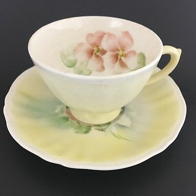 F.M.Beacom Hand Crafted Cup And Saucer Pastel Colors Pink Flowers