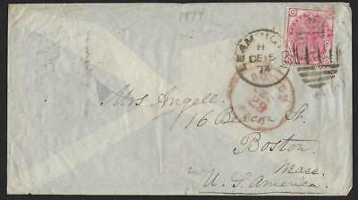 Uk Us 1874 Sg 144 Leamington  Dec. 15. 1874  To Boston  In Red