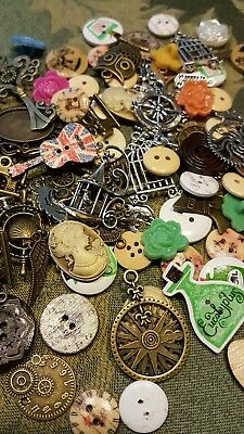 Assorted Ephemera Lot - 100+ Vintage Style Pieces - Charms, buttons