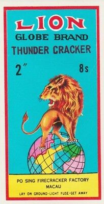 Vintage Lion Globe Thunder Cracker Firecracker Pack Label