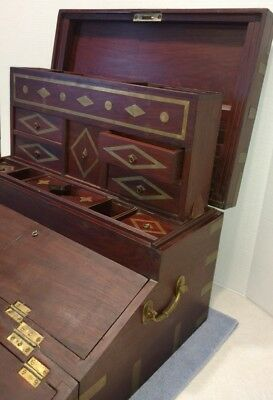 Correspondence Campaign Desk Antique Wood Brass Writing Slope Hidden Compartment