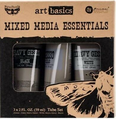 Prima Art Basics Set Mixed Media Essentials 3x 2oz Gesso Black White And Clear